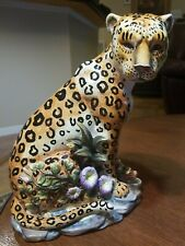 "Large Vtg Hand Painted Ceramic Cheetah Statue Leopard Panthera Figure 11 3/4"" T"