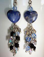 Sodalite Stone Heart Earring 925 Silver Hooks Crystal Dangle Denim Blue Bohomian