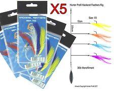 Mackerel Feathers Set Fishing Rig x 5 Hunter Pro Size 1/0 Hooks High Quality