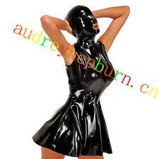 100% Latex Rubber Gummi Kleid Catsuit Ganzanzug Maske Rock Partei Kostüm XXS-XXL