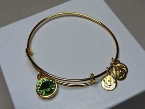 Alex and Ani Energy Gold Plated Green Rhinestone Bracelet Made in USA Adjustable