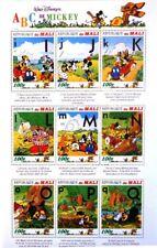 MALI 1996 Klb 1631-39 MS 798 Mickey´s ABC Walt Disney Figuren Figures MNH