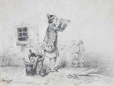 Longue Vue DESSIN ORIGINAL Bourchault HUMOUR 1838
