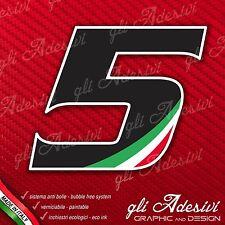 Adesivo Stickers NUMERO 5 moto auto cross gara Nero & Tricolore 5 cm
