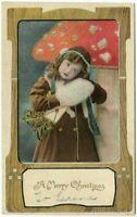 """Antique Post Card """" A MERRY CHRISTMAS """" Little Girl Hand Muffs"""