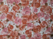 ROSES PINK RED FLOWERS WHITE PINKS ROSE COTTON FABRIC FQ