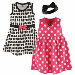 Hudson Baby Dresses and Headband, 3-Piece Set, Bows