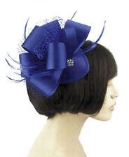 Royal Blue Wide Satin Bow Feather Net Hair Fascinator on tear drop  base - Clip