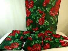 """Christmas Red Green Poinsettia Polyester Fabric 17 1/2"""" Sq Napkins Set of 10"""