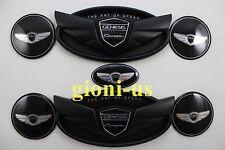 7x Genesis Coupe Matt Black Wheel Cap Steering Sticker Complete Set Front Rear