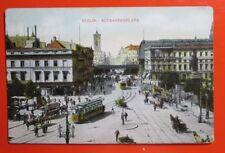 Berlin Alexanderplatz Postcard Yahre 1909, Straßenbahn, Pferdewagen, Taxameter