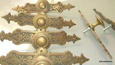 "6 pulls handles solid brass door vintage old style knobs kitchen heavy 5""agedB"