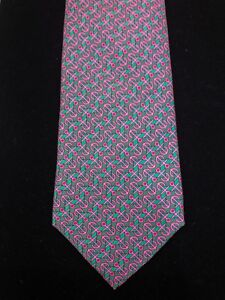 Hermes Silk Tie – Pink Anchors w/ Green Geometric Design, Made in France, #7121