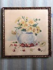 Aquarelle ancienne 1933 vase de Marguerittes jaunes entouré de cerises