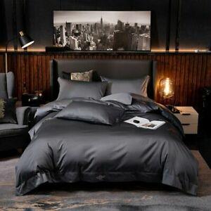 Pure Egyptian Cotton Bedding Set (Bed Sheet Pillow Shams) Queen King Size 4/6Pcs