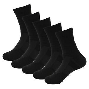 5 Pairs Mens Athletic Cotton Casual Dress Long Black Breathable Crew Socks 9-11