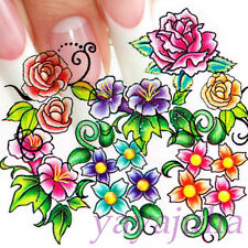 Nail Art Decal Water Slide Transfer Rose Flower Style Stickers 11 in 1 W30