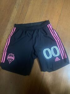 Adidas Seattle Sounders Shorts Authentic Game Issued Mens Medium Black/Pink #00