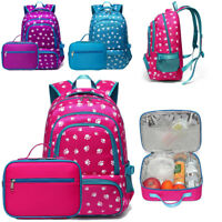 Lunch Bag Box Container Picnic Cooling Food Storage +Girls Backpack Book Handbag
