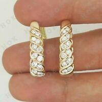 2 Ct Round Cut White Diamond Hoop Huggie Earrings 14k Yellow Gold Finish