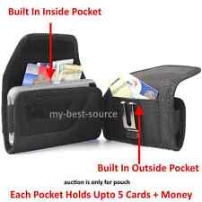 Pouch/Holster Cover w/2 Money Pocket Card Metal Belt Clip To Fit Wallet Case