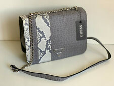 NEW GUESS BAY VIEW GRAY PRINTED FLAP SILVER CHAIN CROSSBODY SLING BAG PURSE SALE