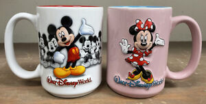 Walt Disney World MICKEY & MINNIE MOUSE 3D Coffee Mug's White Red / Pink Blue