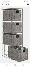 Argos Home Slimline Tall Rattan Effect Storage Cabinet - Grey.