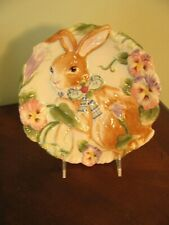 Fitz and Floyd Halcyon Ceramic Plate Bunny Springtime Colorful Hand Crafted Euc