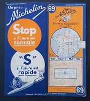 Carte MICHELIN old map n°69 BOURGES MACON 1936 Guide Bibendum pneu tyre