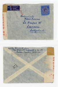 Bermuda to Switzerland 1940 Airmail sent Surface Mail- Censored with PC102 label