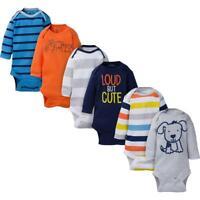 Gerber 6-Pack Onesies Baby Boy Navy & Orange Long Sleeve Bodysuits