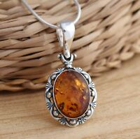 Oval Baltic Amber 925 Sterling Silver Pendant Chain Necklace Jewellery Boxed