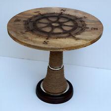 Wooden coffee tea table rounder ship wheel designer vintage nautical look item