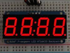 """Adafruit 0.56"""" 4-Digit 7-Segment Display w/I2C Backpack - Red [ADA878]"""