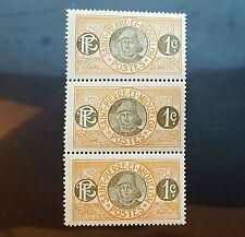 ST. PIERRE & MIQUELON Stamp 1909 1c Orange Fisherman 79 MINT NHOG STRIP