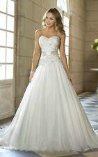 White/ivory A-Line Lace-up Bridal Gown Chiffon Wedding Dress Size 6-16