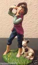 "Creche ITALY Vintage Christmas Nativity Flute Playing SHEPHERD w/ Dog 5"" Figure"