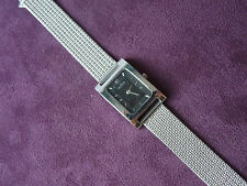 LADIES SKAGEN SIVER TONE BLACK FACE MESH WATCH BAND MF# 68SSSB ORG. $100