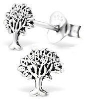 PAIR STERLING SILVER 925 TREE OF LIFE EARRINGS / EAR POSTS / STUDS, 6 MM