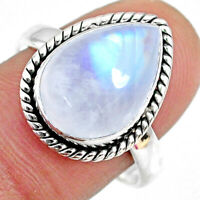 925 Silver 6.93cts Natural Rainbow Moonstone Pear Solitaire Ring Size 8.5 R63772