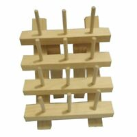12 Spool Wooden Bobbin Thread Rack and Organizer for Sewing Craft A1W9