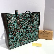 Patricia Nash Solaro Tooled Leather Tote Turquoise Blue Brown Floral New $269