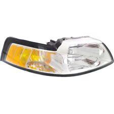 For Mustang 99-00, Passenger Side Headlight, Clear Lens; Chrome Interior