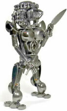 Collectible Metal Alien with Spear Art Sculpture Decor Figurine 8 inch Tall