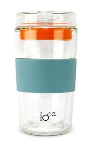 IOco 12oz All Glass Coffee Tea Cup Mug.Travel Reuse & Keep it -Ocean/Orange