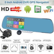 "5"" HD 1080P Android Dual Lens GPS WIFI Car DVR Rear View Mirror Dash Cam Camera"