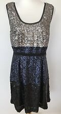 Broadway & Broome Madewell Sleeveless Sequined Evening Dress Cocktail SZ 10 Blue