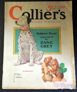 COLLIER'S Oct.  11, 1930 Magazine LAWSON WOOD Dalmatian & Pekingese Dogs Cover