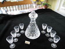"""WATERFORD LISMORE ROLY POLY DECANTER 10.75""""H, W/8 CORDIALS, 3.5""""H, XLNT COND."""